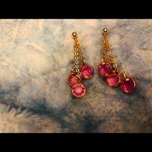 Swarovski ? Gold & pink dangle earrings w/posts